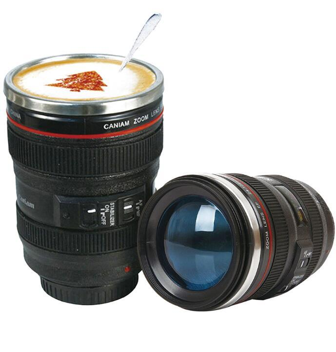 Creative 6th Generation 400ml Stainless Steel Liner Travel Thermal Coffee Camera lens Mug Cups with hood lid & bag packing
