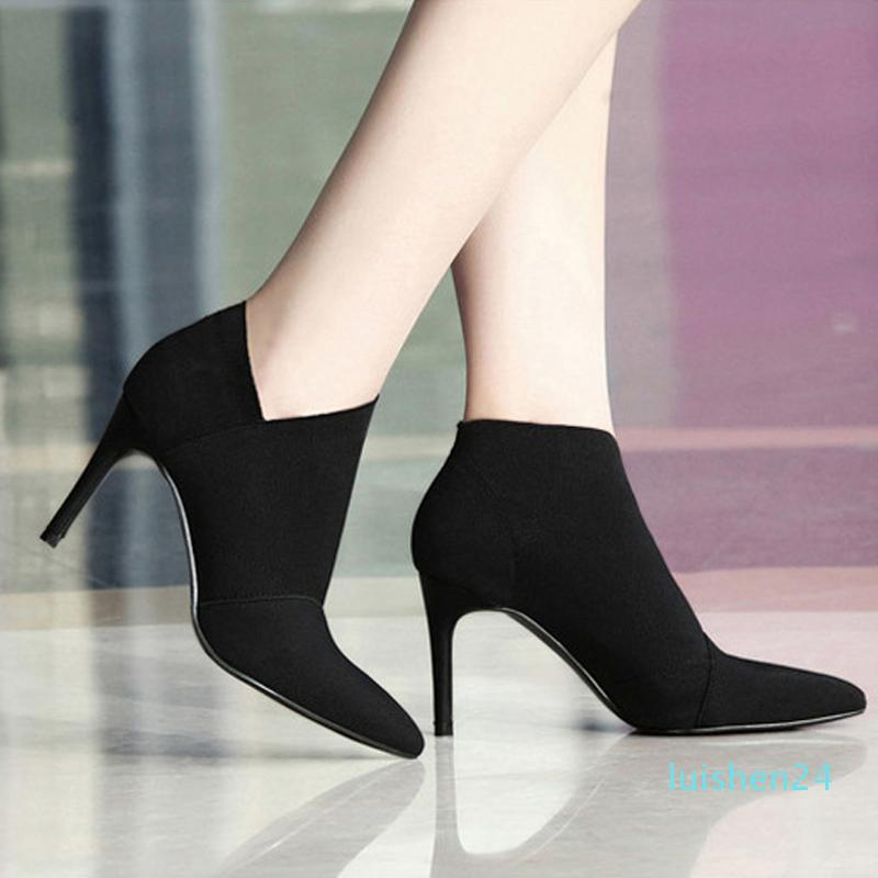 Frauen-Large Size34-41Fashion weiblich High-Heeled Junge Damenmode Booties 8.5cm Heel Stoffstiefel l24