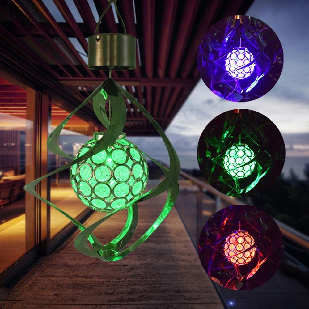 LED 태양 광 램프 매달려 공 7 색 변경 정원 조명 야외 풍경 잔디 램프 태양 벽 램프