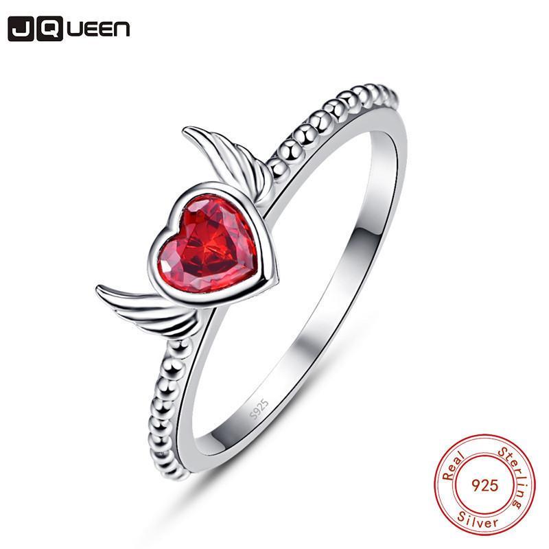 Großhandel Neue Ankunft Schöne Flügel Herzförmige 925 Sterling Silber Ringe Rot Farbe Kristall Splitter Ring Frauen Bague Femme Schmuck