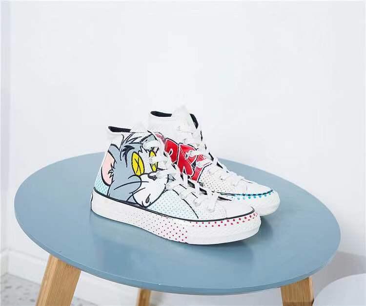 2020 tasarım yeni yüksek üst kanvas ayakkabılar kadın kedi ve fare eğlence öğrenci kadın el boyaması karikatür tahta ayakkabılar markalı eş