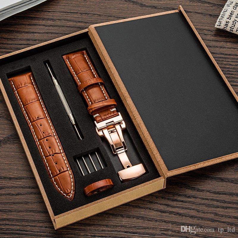 Hakiki Deri Watch Band Kayışı Watchband boyutu için 12 13 14 15 16 18 18 19 20 21 22 24mm Siyah Kahverengi İzle bileklik ile Bilezik araçları