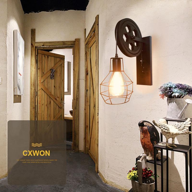 Haute qualité Vintage lampe de levage créatif poulie intérieure Retro Wall Light Corridor restaurant Café Aisle bois Lampe de mur
