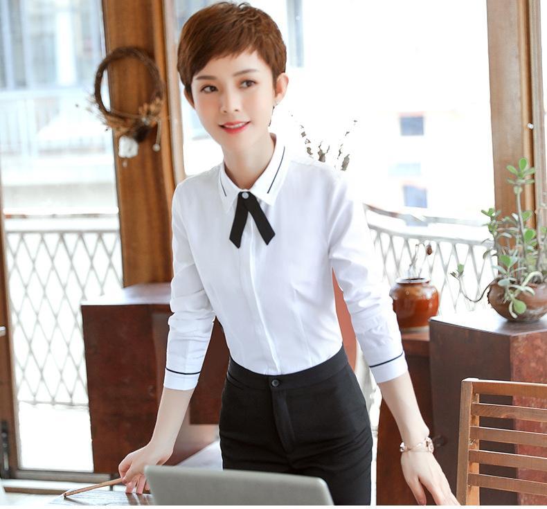 Beleza nova shirtformal entrevista desgaste do negócio da camisa do desgaste estiramento dianteiro cor sólida manga arco camisa laço beaut curto mesa de g8Ne4 lox6P Mulheres