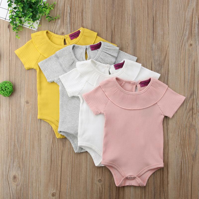 4 Farben Säuglingskleinkind-Baby-Jungen-Spielanzug-Overall-Bodysuit Rib Outfit Sommer