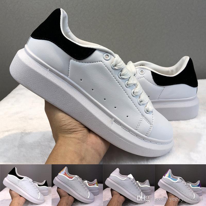 2020 zapatos de cuero de terciopelo Zapatos Negro Blanco oro reflectante moda para mujer para hombre zapatillas de deporte de la plataforma de los zapatos planos ocasionales