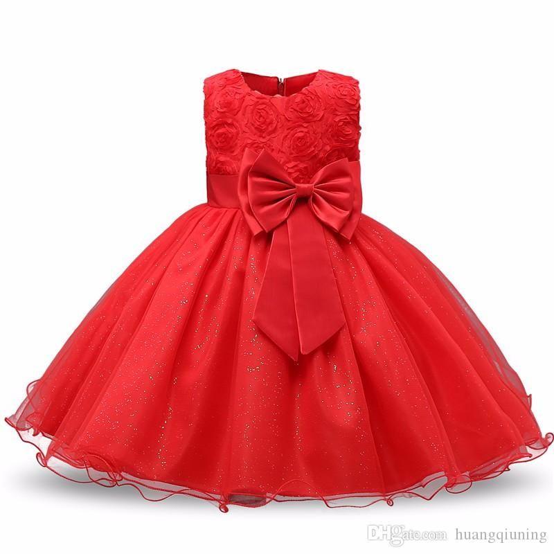 Blumenmädchenkleid für Hochzeit Baby 1 2 Jahre Geburtstag Outfits Kinder Mädchen Kommunion Kleider Kinder Tüll Party Schwangere Taufe