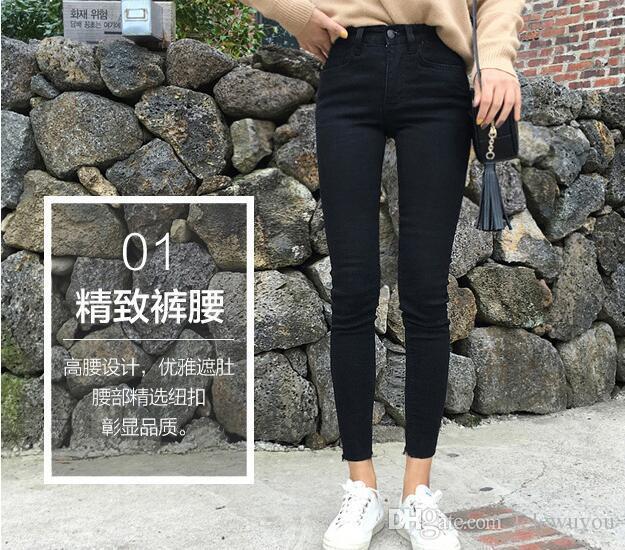 BOYUT 4XL 5XL Yüksek bel şık kot kadın ilkbahar ve sonbahar 2020 yeni Koreli sıska siyah tayt