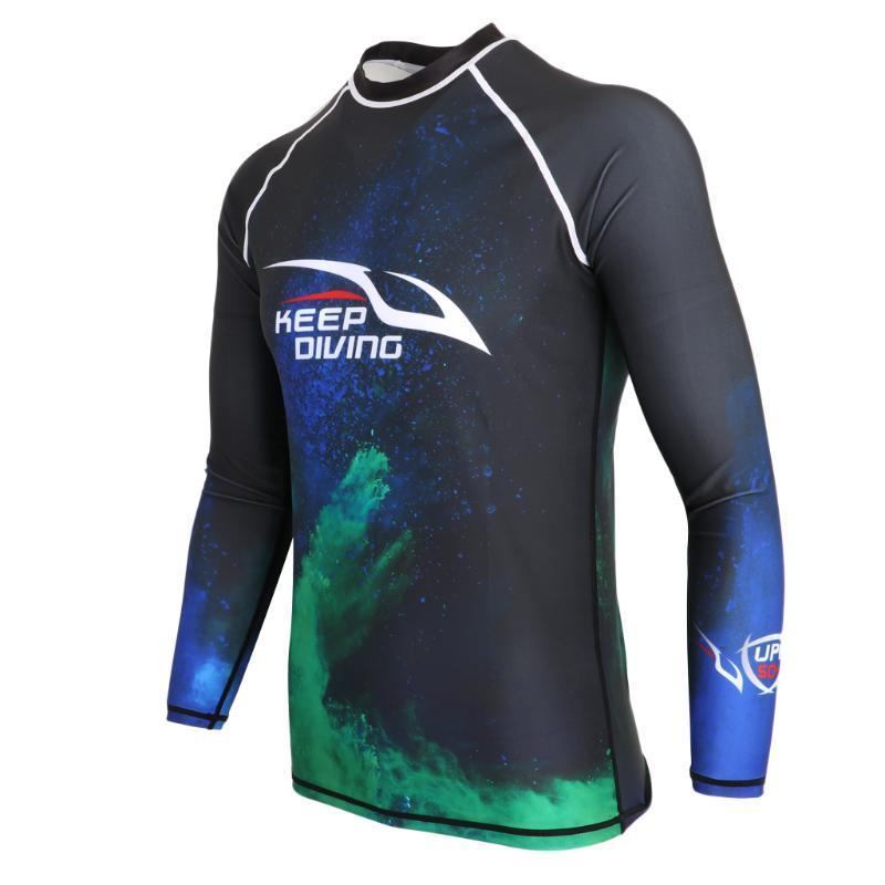 UPF 50+ серфинг подводное плавание подводное плавание гидрокостюм Верхняя рубашка сыпь гвардии для мужчин различных размеров плавание сыпь гвардии