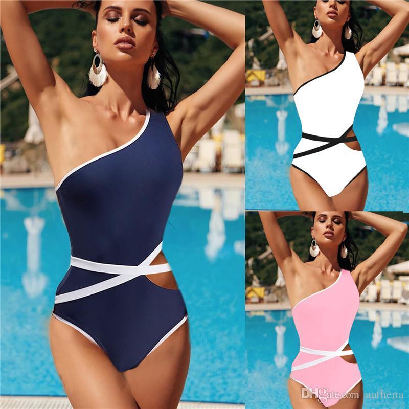 انفجار نمط شاطئ بيكيني قطعة واحدة ملابس السباحة الأوروبية والأمريكية شخصية حزام واحد على الكتف بيكيني من قطعة واحدة ملابس السباحة