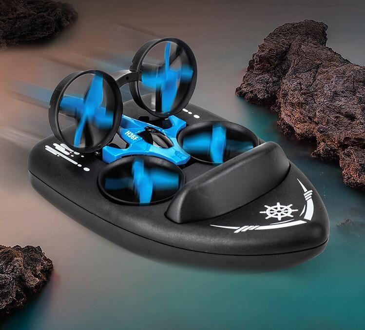JJRC H36F Mini Drone, Remote Control Boats per piscine e laghi, Auto RC per bambini, 3-in-1 Metal-Land-Air Modalità Passaggio impermeabile Hovercraft RC