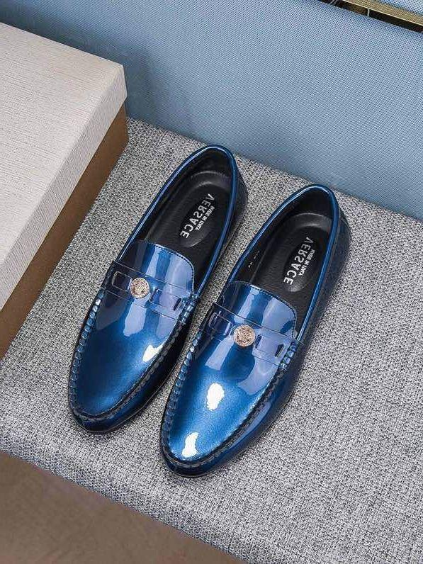 2019 Vintage moda ayna bezelye ayakkabı V31902 Erkekler Elbise Ayakkabı Moccasins Loafer'lar Dantel Ups Keşiş Sapanlar Çizmeler Sürücüleri Gerçek deri Sneakers