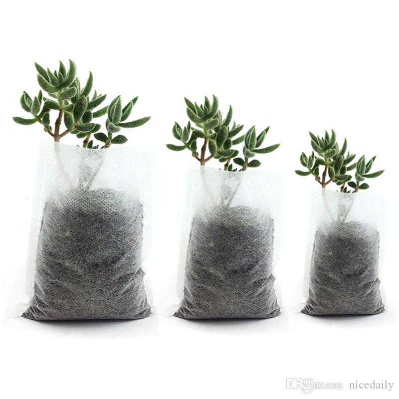 400Pcs Misto Biodegradabile Pianta Vasi da vivaio non tessuti Pianta crescere Borse Seme per piante in tessuto Eco-Friendly Aerazione Planting Borse