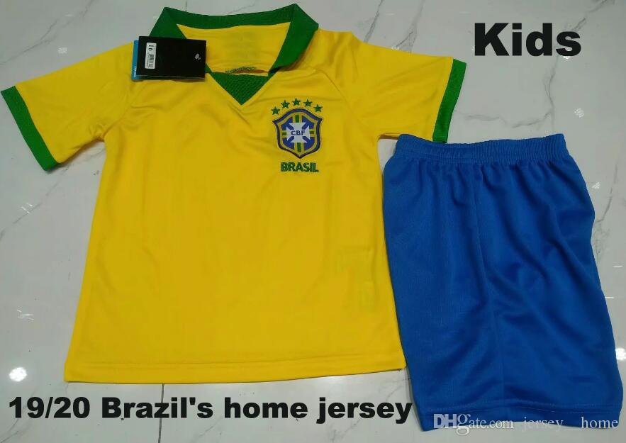 Kids Kit 2019 Brazil American Cup home yellow Soccer Jersey 19/20 #11 P.COUTINHO soccer shirt #12 MARCELO Child Football uniforms sales