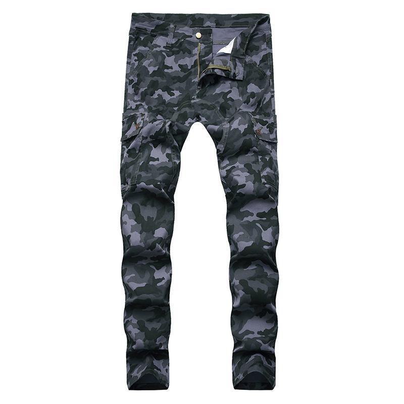 Sokotoo Erkek kamuflaj baskı kargo kot Streetwear ince streç kot pantolon cebe