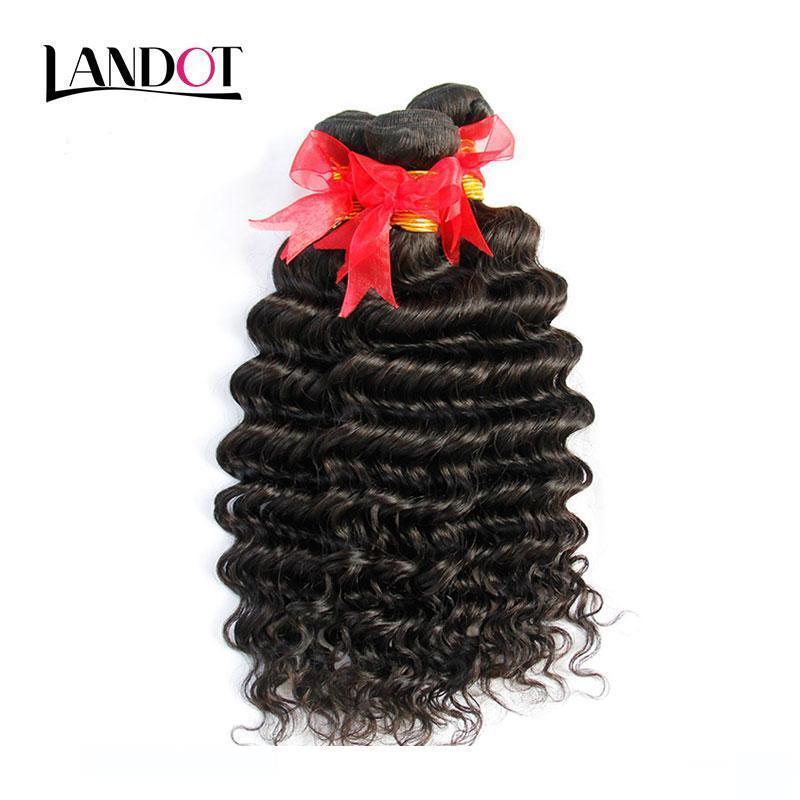 A profunda brasileira Ondas Curly Virgin Cabelo Humano Weaves Pacotes não transformados peruana Malásia indianos mongol cambojano Curly Exten cabelo