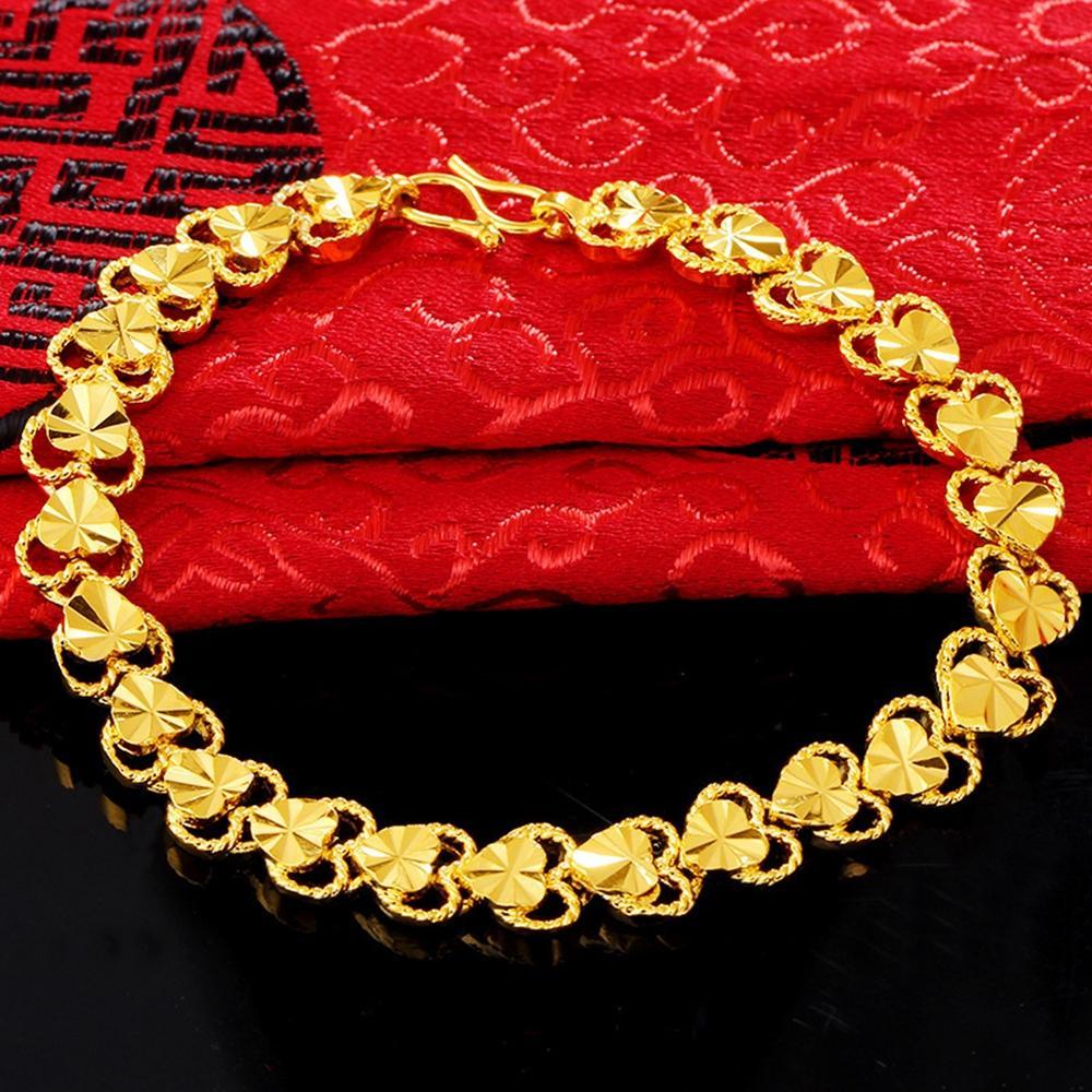 Gioielli classico delle donne di modo del braccialetto cuore intagliato Catena oro giallo 18K riempito