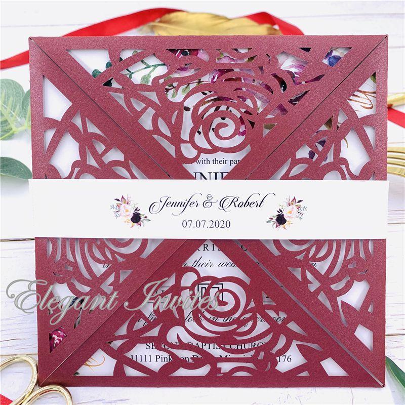 Şık Çiçek Özelleştirilmiş Kağıt Toptan Lazer Zarf ücretsiz gönderim Düğün Davet Kartları (Burgonya) LCV Kartları Kesme kat