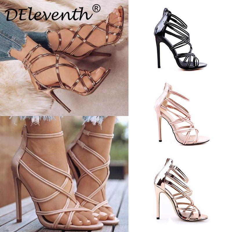 DEleventh Cossover Kesim Kapak Topuk Zip Stiletto Yüksek Topuklar Ayakkabı Kadın Sandalet Siyah Altın Parti Düğün Ayakkabı Sandalias EUR 43