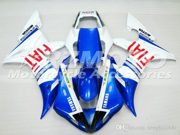 OEM qualità Nuovo ABS carenatura integrale Kit forma per YAMAHA YZF R1 02 03 YZF1000 2002 2003 R1 Carrozzeria Insieme blu del bianco personalizzato