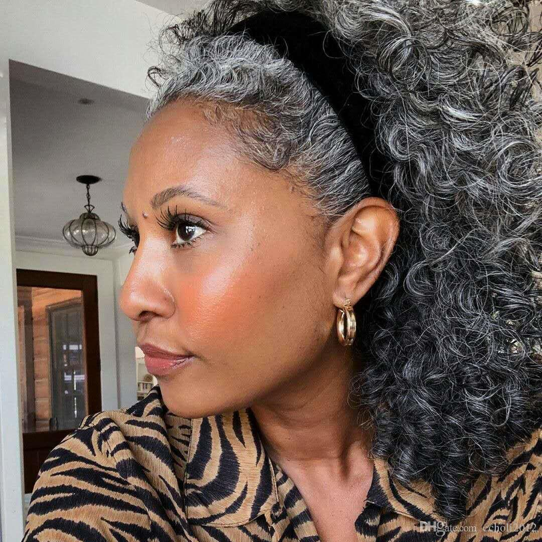 Fashion Beauty African American Human Hair Ponytail Silver ...