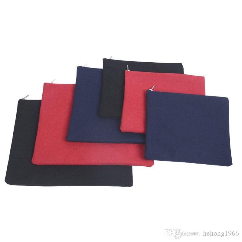 فارغ جديد حقيبة قماش الألوان الصلبة بسيطة الملف الجيب معدن سحاب النقي غسل القطن المياه أكياس التخزين الساخن بيع 4 3ky