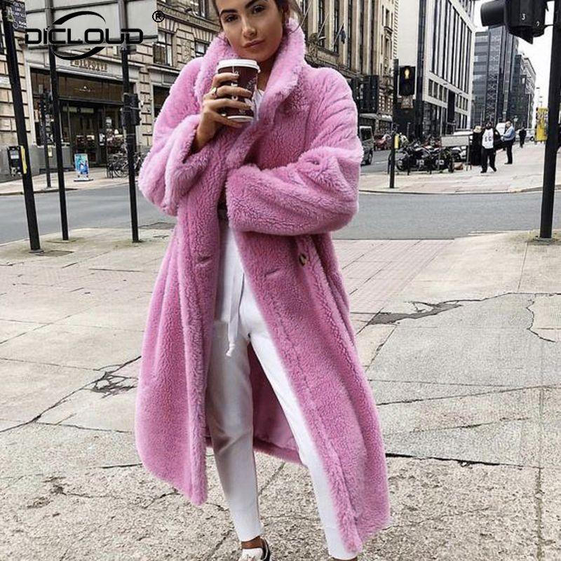 Длинный плюшевый медвежонок Куртка Пальто Женщины Зимние Толстые Теплые Негабаритные Передвижные Женщины Faux Lambswool Меховые Пальто Colulsy Верхняя одежда