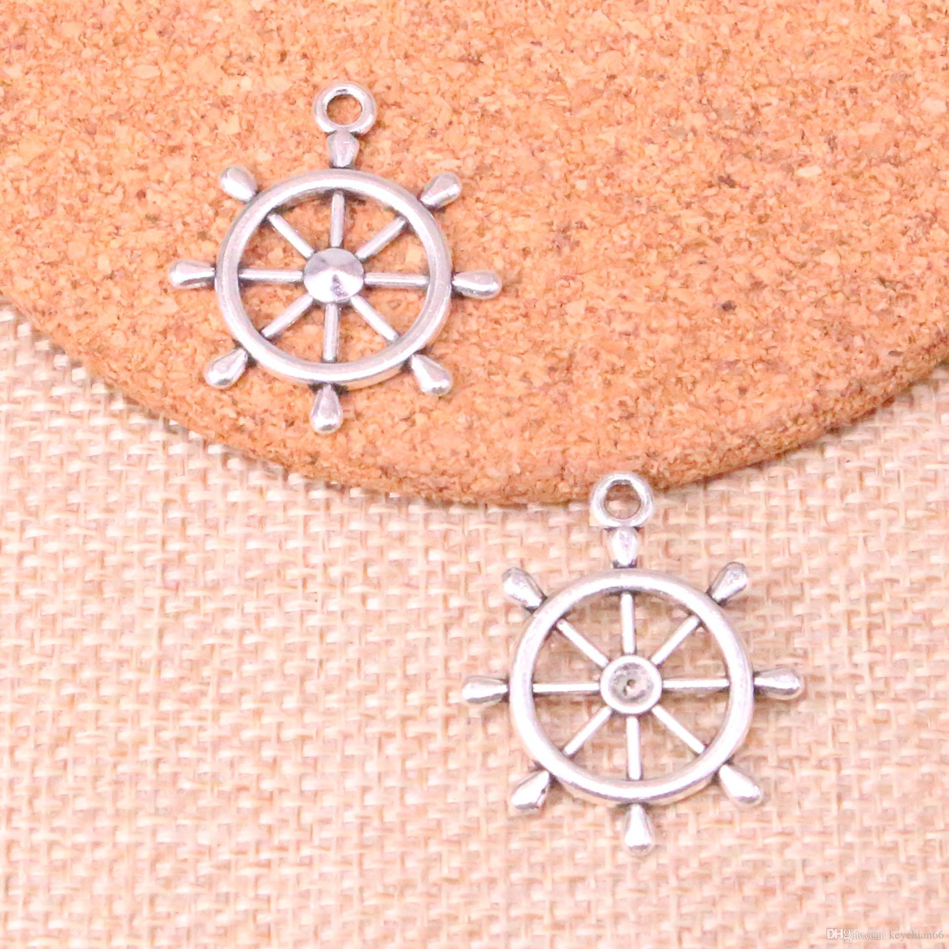 Charms roda leme leme de 48pcs antigo navio de prata pingente Fit pulseiras Colar DIY Jóias Metal Fazendo 28 * 24 milímetros