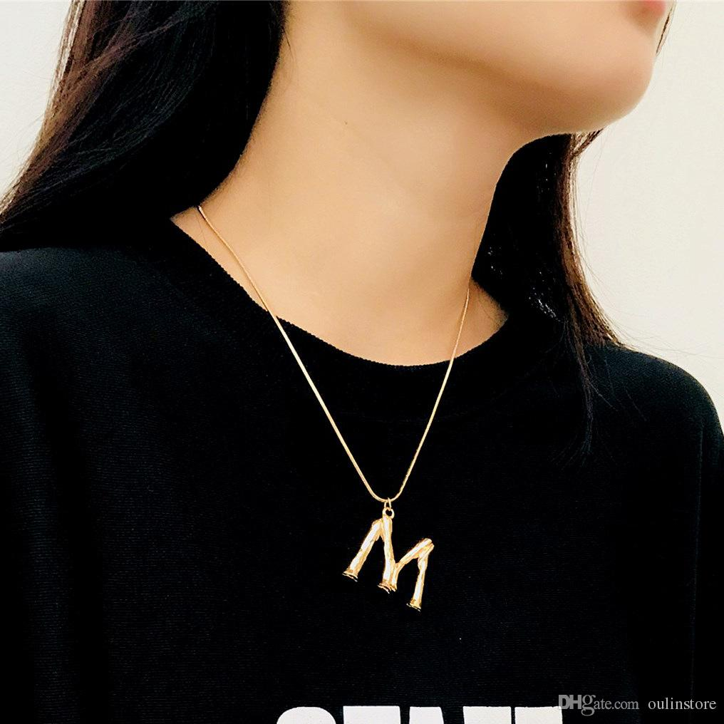 Simple A-Z Letter Pendant Necklace Unisex Lovers Snake Chain Fashion Jewelry Name Necklace For Women Men Gifts Adjustable Size