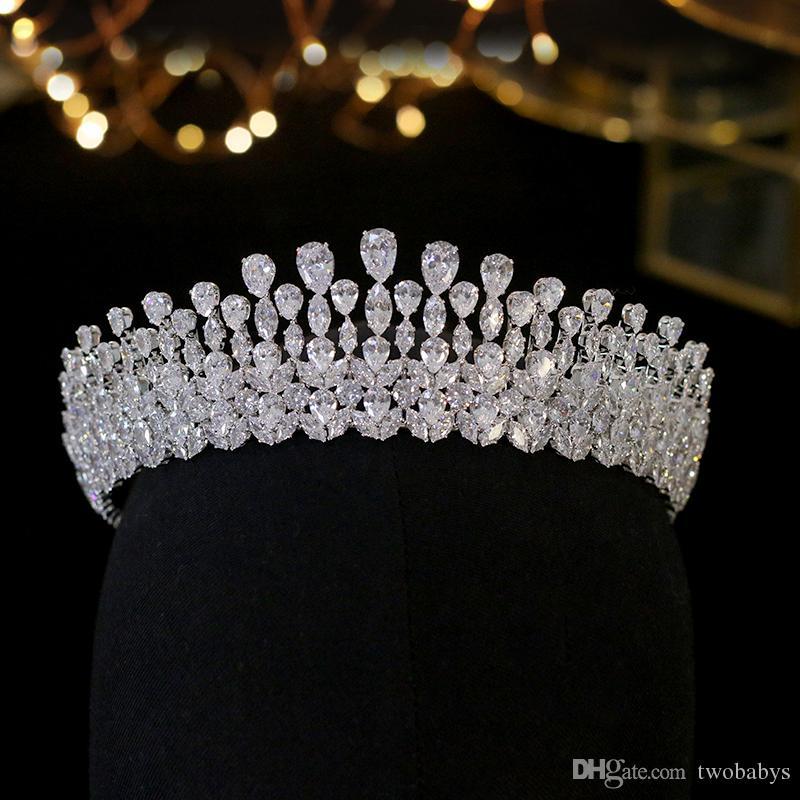 Luxus Bridal Crown Crystal Mode Kopfschmuck Königin Hochzeit Krone Hochzeit Schmuck Haarschmuck Tiara Zirkon Crown Headpieces