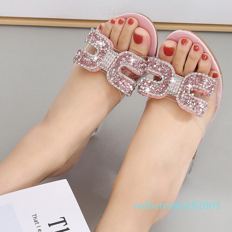 YEELOCA New Salto Alto Cristal Sandals Mulheres Verão Peep Toe Chinelos Feminino Rhinestone Heel Transparente Cunhas Sandals Bombas r03
