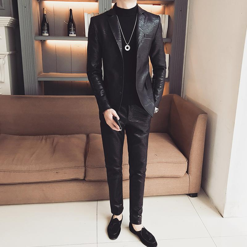 (Jacket+Pant ) PU Leather Suit Triple Button Business Casual Prom Blazers Korean Suit Solid Black Slim Fit Blazer Hombre