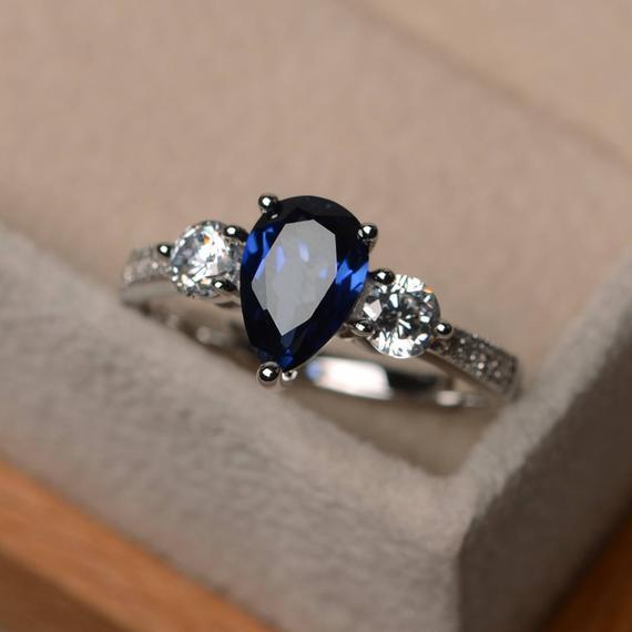 Standart Gümüş Gelin Prenses Düğün Nişan yüzüğü Boyutu 6-10 doğumlu romantik ve güzel doğal safir