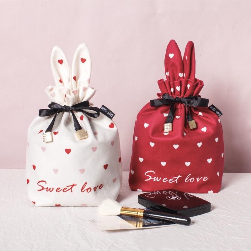 ины макияж сумка небольшие портативные женские косметики, получавших мешок макияжа веревки расслоение карман
