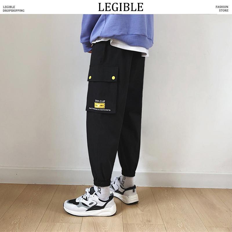 سروال شحن مقروء رجال ملابس Streetwear Joogers البنطال الأسود Sweatpant ذكور هيب هوب البناطيل الخريفية Overalls