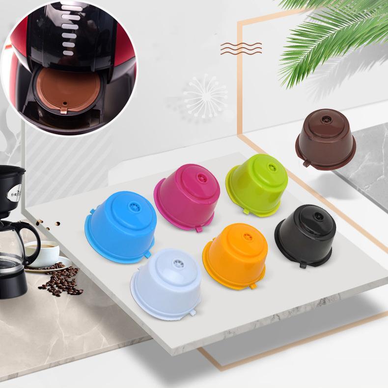 6 Farbe Kaffee-Kapsel-Schale Kaffeefiltertasse Küche Kaffee Werkzeug Food Grade Silikon Cup 304 Edelstahl Filter XD23540