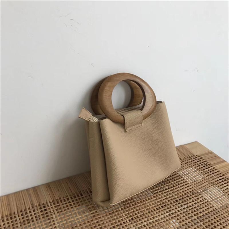 Mulheres de madeira Bolsas Anel Totes para Ombro Casual Messenger Bag Corpo Cruz Bolsas Bolsas Malas de mulher bolsas