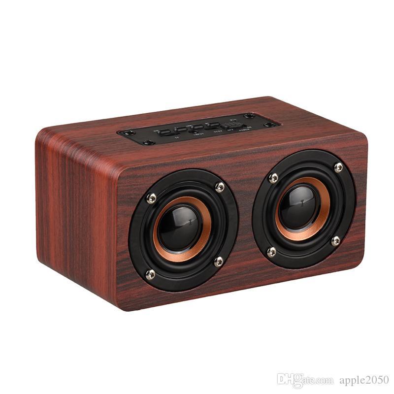 Haut-parleur sans fil Bluetooth en bois Portable Hi-Fi Shock Basse Altavoz TF caixa de som Soundbar pour iPhone Sumsung Xiaomi