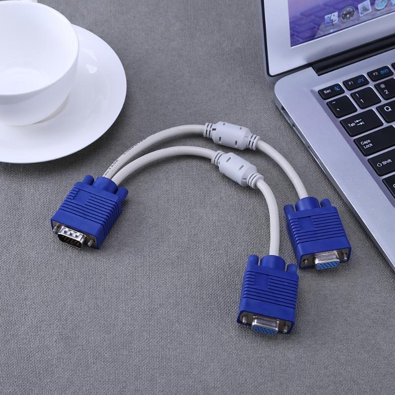 200PCS 1 الكمبيوتر إلى 2 المزدوج مراقب VGA الفاصل كابل فيديو Y الفاصل 15 دبوس الموانئ اثنين VGA ذكر إلى أنثى
