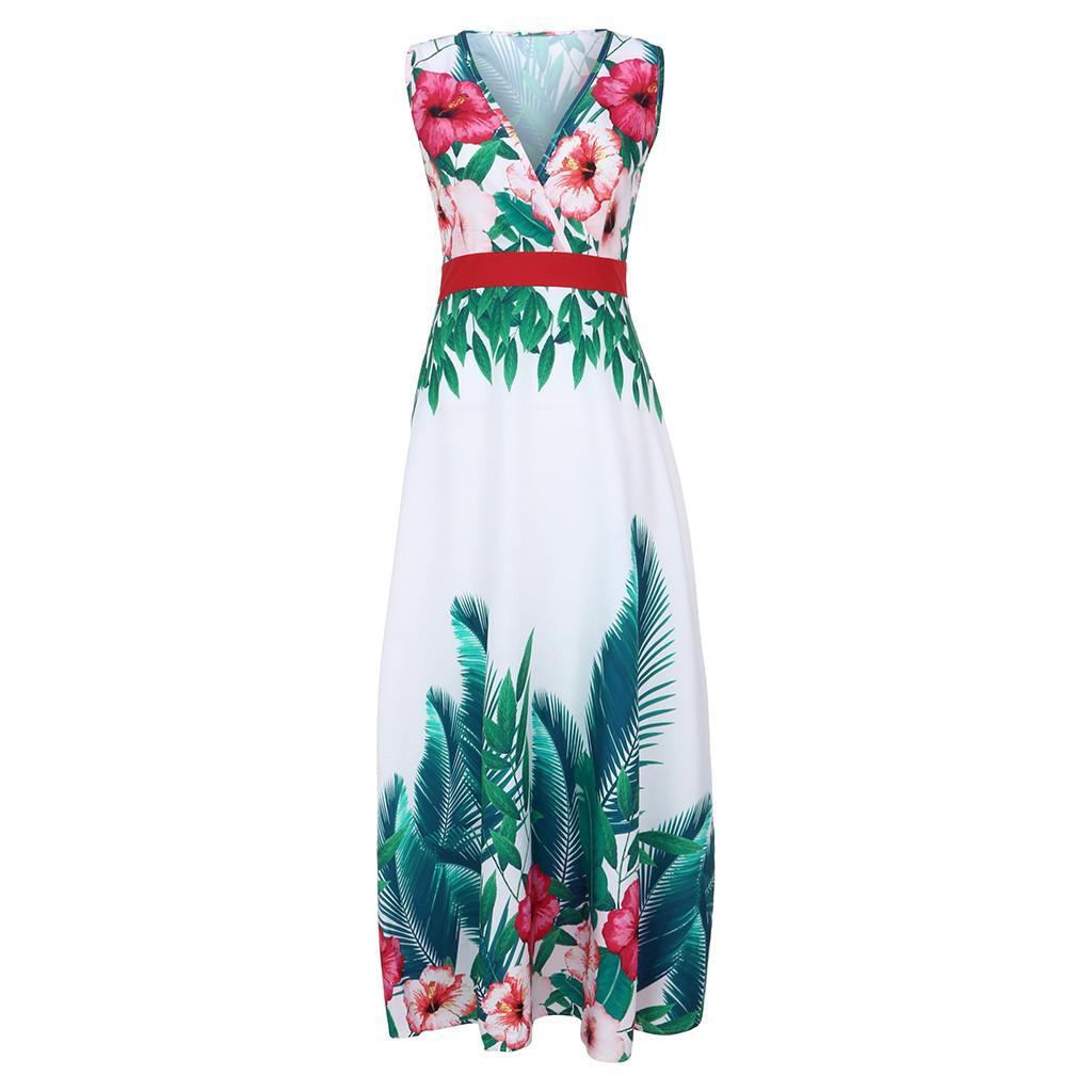 Moda- Mulheres Verão Com Decote Em V Sem Mangas Sem Encosto Colete Cintura Boêmio Casual Impressão Polieste Vestido Vestidos Transporte da gota