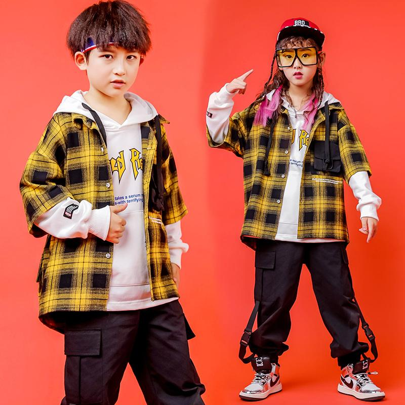 Children'S Hip-Hop Suit Boys Model Catwalk Clothes Fashion Drum Clothes Girls Jazz Dance Costume Plaid Shirt Clothing DWY3116