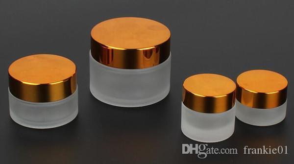 ecig vape 5 g, 10 g, 20 g, 50 g de vidrio esmerilado tarro mate transparente cera vidrio escondite envase cosmético con tapas de oro de plata negro