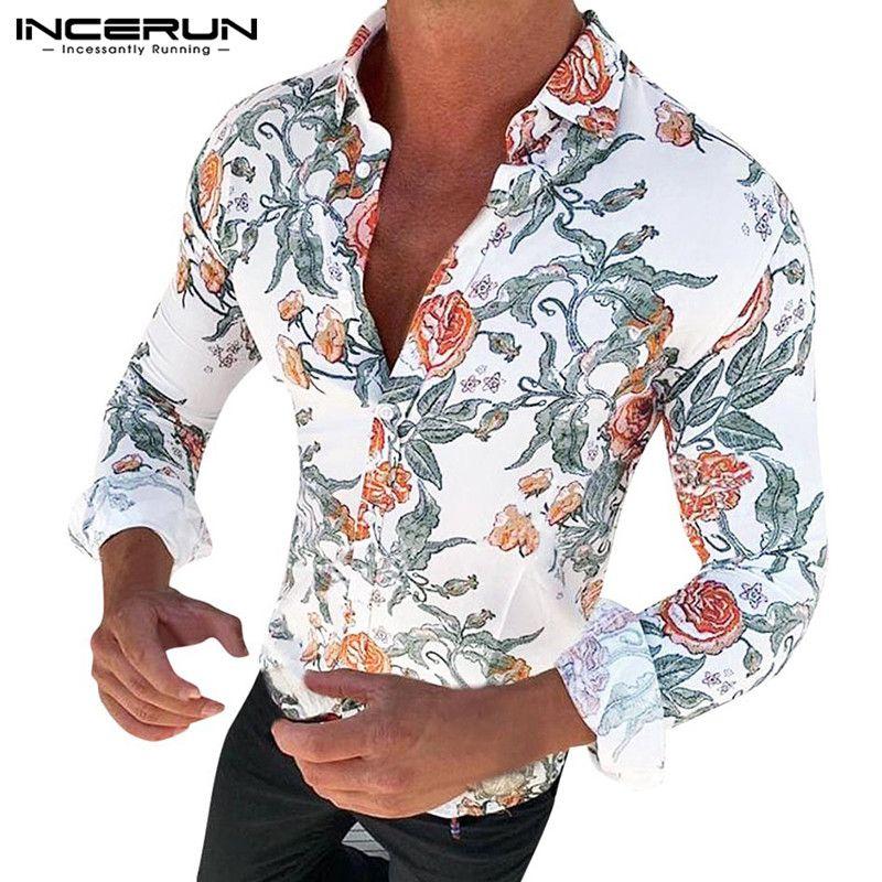Herrenmode Freizeit Sommerhemden Freizeithemd Langarm Gedruckt Revers Tops Shirt