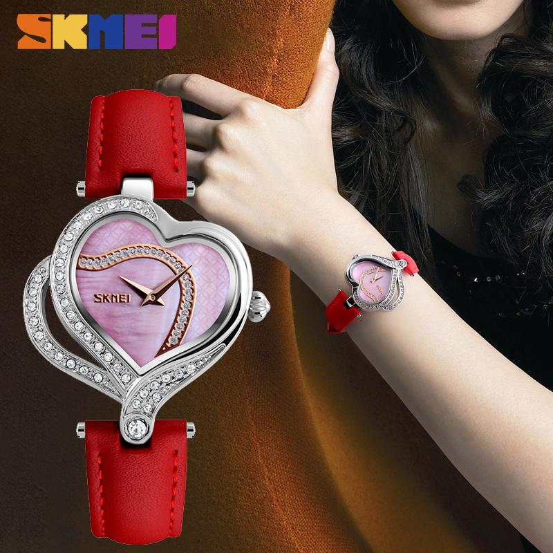 SKMEI Mode Quarz-Frauen-Uhren Kreative Diamanten besetzte Damen-Armbanduhr Top-Marke Luxusuhr Frauen montre femme 9161