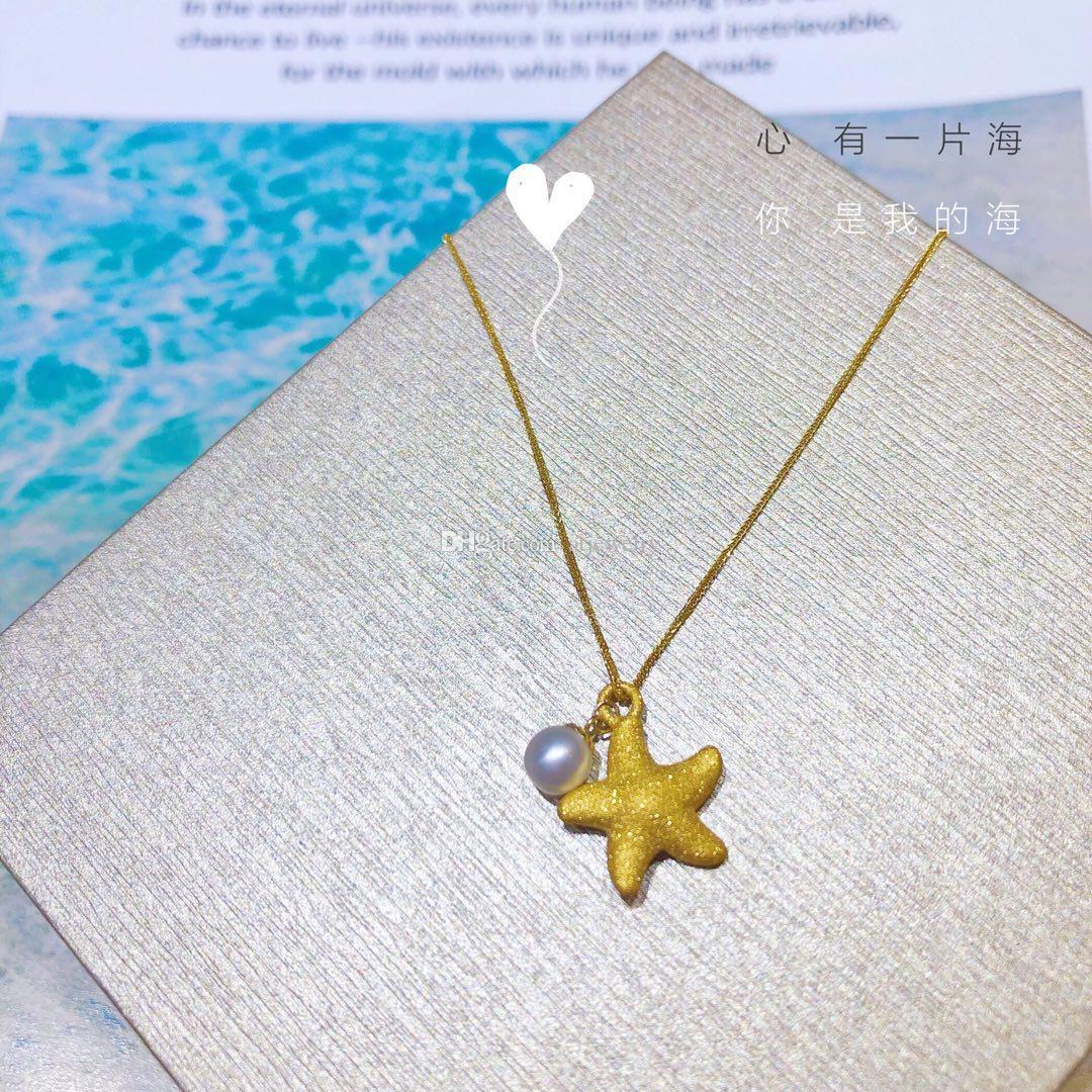 Освежающая маленькая Морская звезда жемчужина 3D чистое золото Жемчужина кулон цепь ожерелье золотые ювелирные изделия ожерелье изысканные ювелирные изделия для женщин завод Оптовая продажа