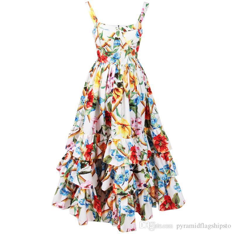 Designer de moda Runway cinta Spring Dress Mulheres Spaghetti Backless Floral Imprimir vestido de baile Cascading Ruffle Vestido Praia