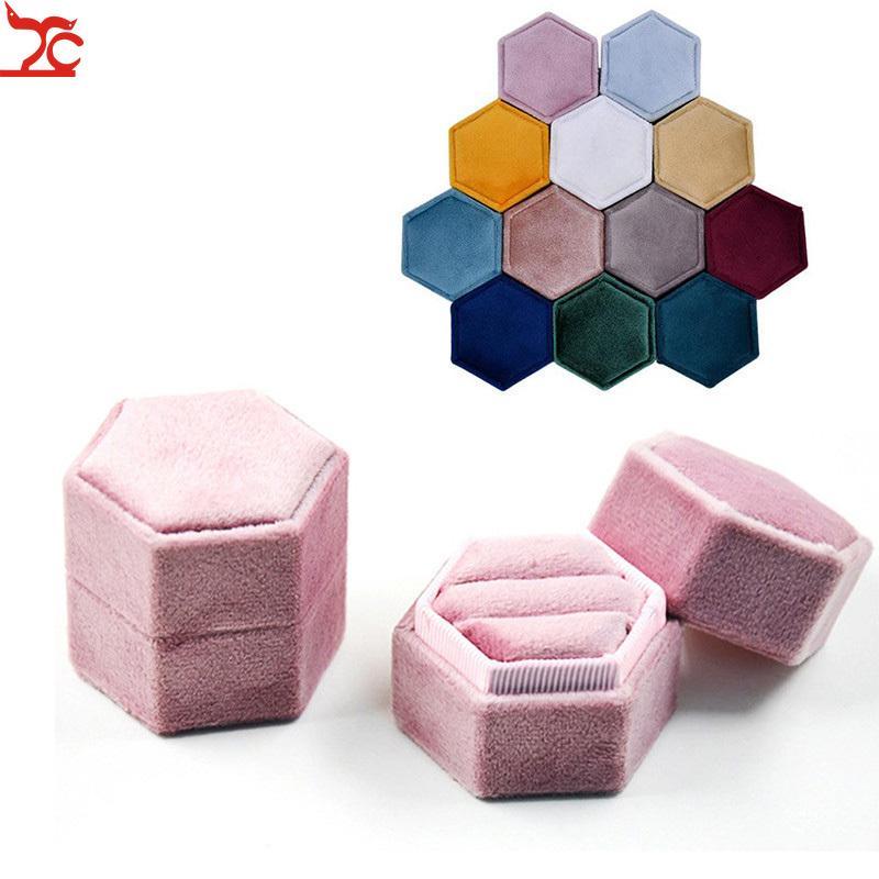 Yüksek Kaliteli Kadife İkili Zil Box Box Alyans Kutuları Takı Konteyner Küpe Tutucu Saklama Kutusu Packaging Mücevher Engage