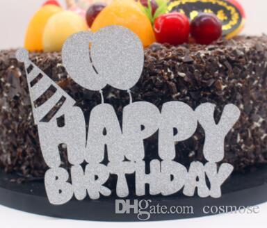 Multi colores globos feliz cumpleaños Cake Topper Banderas Glittler PaperBoard para la fiesta de cumpleaños Pastel Hornear Decoración Venta caliente