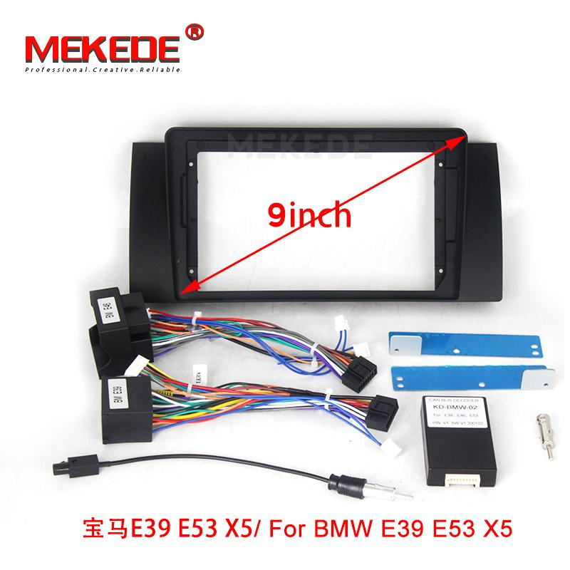 High quality new double Radio Fascia For E90 E46 X5 (E53) 5 (E39) stereo facia frame panel dash mount kit adapter trim Bezel car dvd