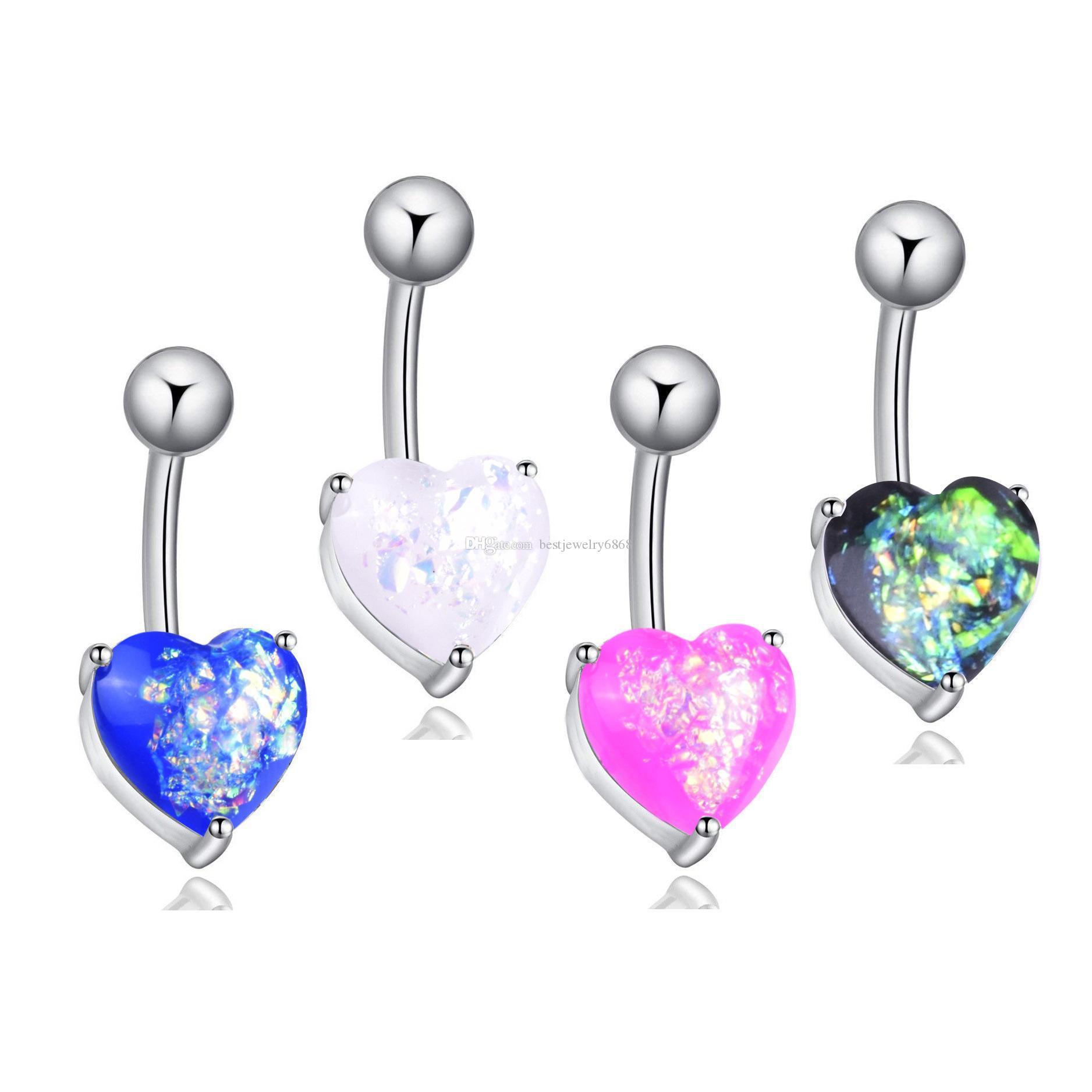 316L Acero inoxidable Cristal Opal Heart Heart Navel Barras Oro Belly Button Anillo ombligo Piercing Joyería